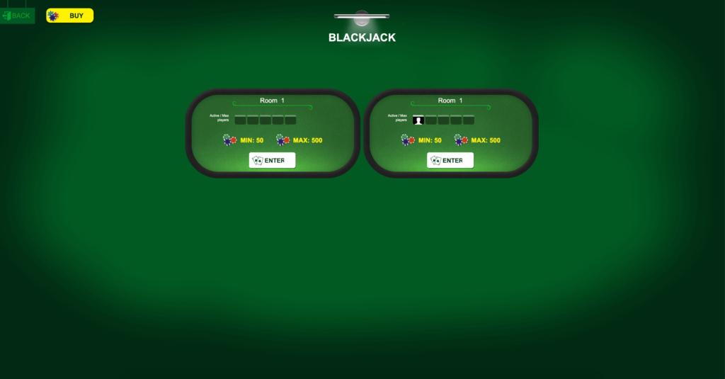 Blackjack: Screen of tables