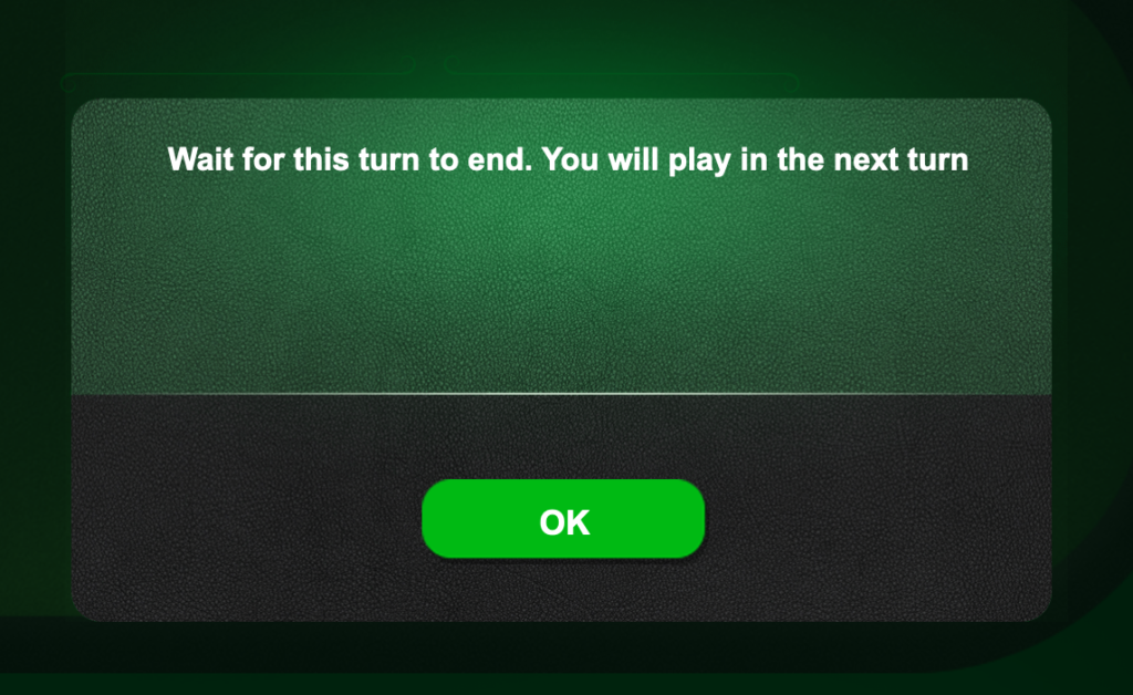 Blackjack: Message when we join a table where other players are already playing